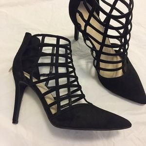 Marc Fisher Maples Black Caged Strappy Heels